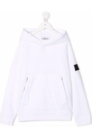 Stone Island Junior Logo-patch pullover hoodie