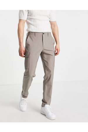 Selected Homme Men Cargo Pants - Slim tapered cargo trousers in sand