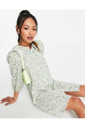 VILA Floral mini shirt dress with ruffle collar-Multi