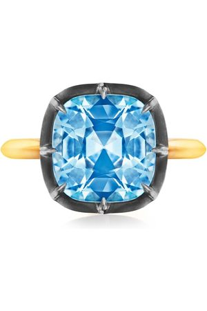 FRED LEIGHTON 18kt yellow and silver collet solitaire blue topaz ring