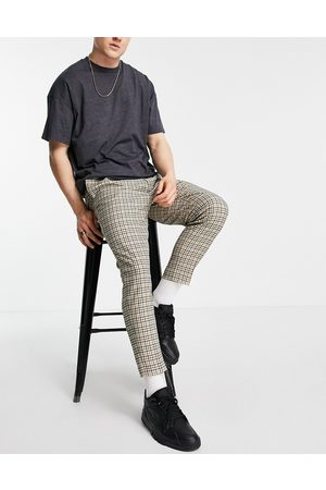 ASOS Men Chinos - Tapered smart trousers in stone check-Neutral