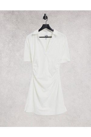 Lola May Gathered waist v neck mini dress in