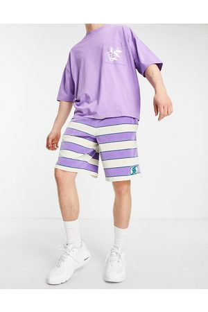 ASOS Co-ord oversized towelling shorts in all over stripe-Multi