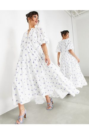 ASOS EDITION Puff sleeve midi dress in ditsy floral printed broderie-Multi