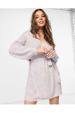 Never Fully Dressed Wrap mini dress in rainbow knit-Multi