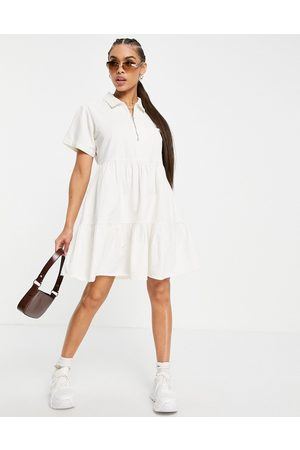 Missguided Zip front tiered shirt dress in