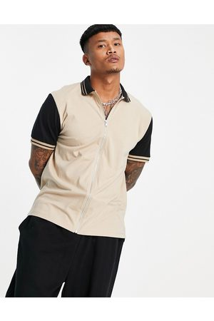 ASOS Relaxed jersey shirt with contrast sleeves-Neutral