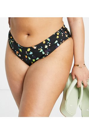 Collusion Plus recycled 80s high thigh bikini bottoms in fruit print