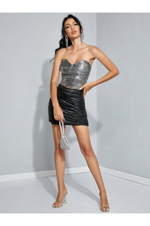 YOINS Glitter Backless Design Ruched Sleeveless Tube Top