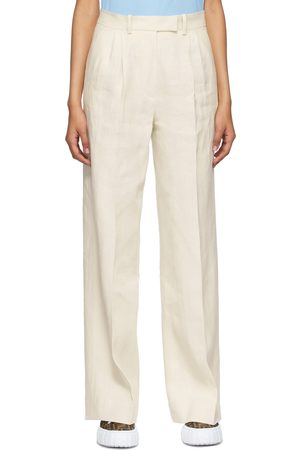 Fendi Off-White Linen Trousers