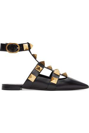 Valentino Garavani Leather Roman Stud Ballet Flats