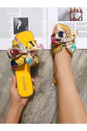 YOINS Graphic Bowknot Flat Sandals
