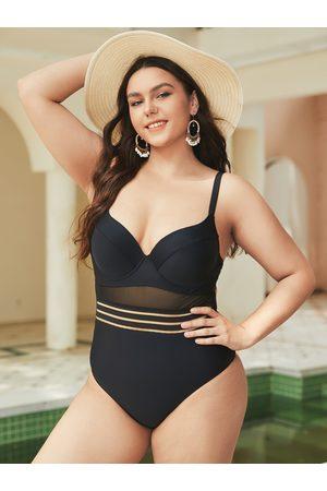 YOINS Plus Size Deep V Neck Mesh Patchwork Tie-up Design Sleeveless Swimwear