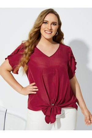 YOINS Plus Size V-neck Lettuce-Edge Tie-up Design Short Sleeves Blouse