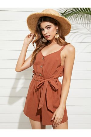 Yoins Button Front Belt Design Sleeveless Playsuits
