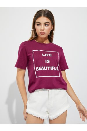 YOINS Round Neck Letter Short Sleeves Tee