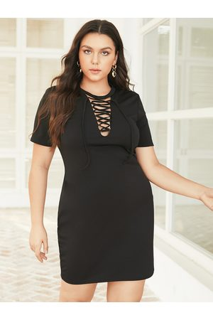 YOINS Plus Size Crew Neck Lace-Up Design Short Sleeves Dress