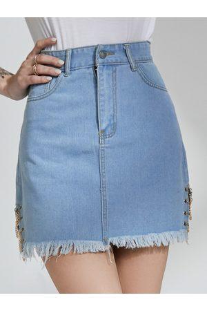 YOINS Blue Chain Design Side Pocket Denim Mini Skirt