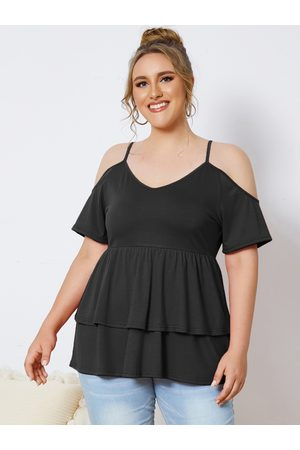 YOINS Plus Size Cold Shoulder Double Layer Design Short Sleeves Tee