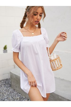 YOINS Square Neck Shirring Backless Design Mini Dress