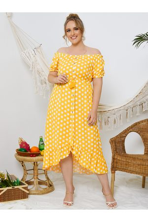 YOINS Plus Size Button Design Drawstring Short Sleeves Midi Dress