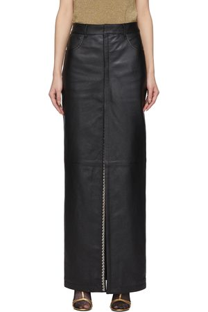 Saint Laurent Leather Snap Slit Skirt
