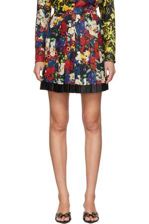 Women Mini Skirts - Versace SSENSE Exclusive Multicolor Silk Floral Mini Pleated Skirt