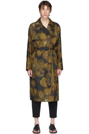 Men Trench Coats - Dries Van Noten Black & Yellow Floral Trench Coat