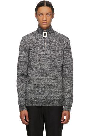 JW Anderson Grey Roll Neck Half-Zip Sweater