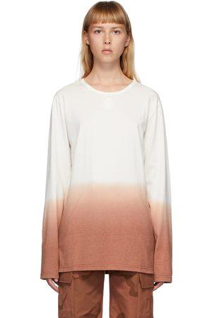 Marine Serre Off-White & Orange Dip-Dye Long Sleeve T-Shirt