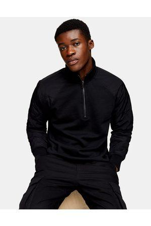 Topman Men Sweatshirts - Quilted raglan sleeve half zip sweat in