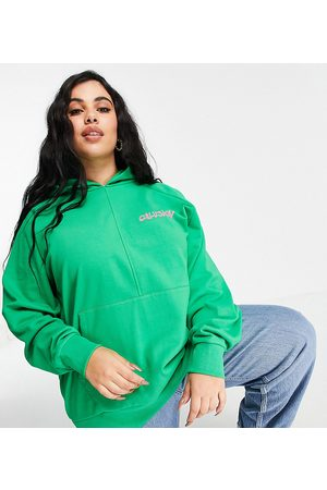 COLLUSION Women Sweatshirts - Plus oversized hoodie with brand print in bright