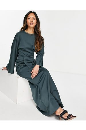 ASOS Front twist maxi dress with fluted sleeve in forest