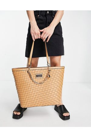 River Island Women Tote Bags - Woven faux leather shopper bag in -Neutral