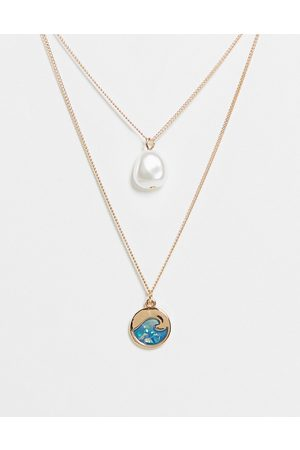 ASOS DESIGN Multirow necklace with pearl and opal wave pendant in tone