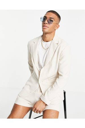 ASOS Soft tailored relaxed oversized suit jacket in ecru crepe-Neutral