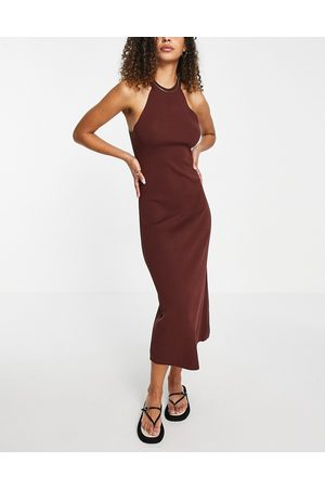 ASOS Knitted midi dress with halter neck in
