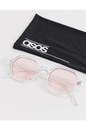 ASOS Men Sunglasses - Angled square sunglasses in crystal with pink lens