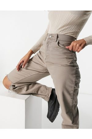 ASOS Hourglass high rise 'slouchy mom jean in mushroom with knee rips