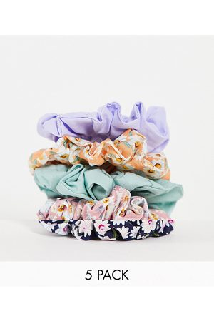 ASOS DESIGN Women Hair Accessories - Pack of 5 skinny scrunchies in daisy floral print and plain colours-Multi