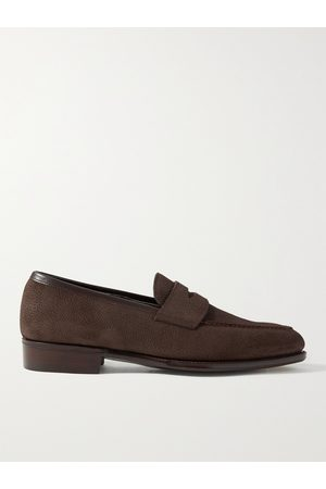 GEORGE CLEVERLEY Men Loafers - Bradley III Leather-Trimmed Pebble-Grain Suede Penny Loafers