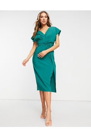 ASOS Women Pencil Dresses - Twist and drape front midi pencil dress in forest
