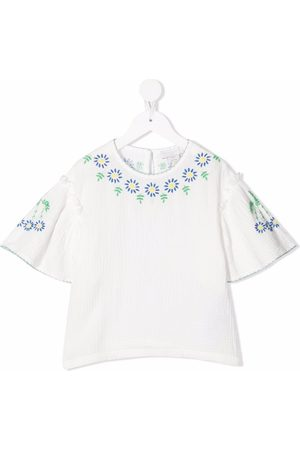 Stella McCartney Floral-embroidered muslin blouse