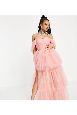 Lace & Beads Exclusive off shoulder tulle maxi dress in powder