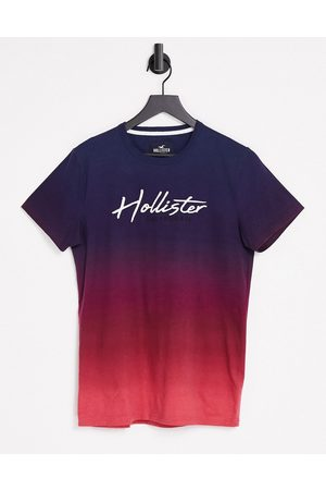 Hollister Core tech ombre t-shirt with logo in burgundy