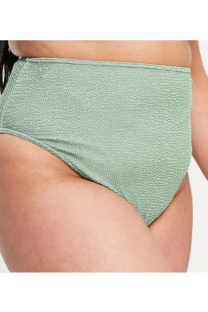 ASOS ASOS DESIGN curve mix and match crinkle high leg high waist bikini bottom in khaki