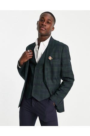 ASOS Skinny suit jacket in tonal and navy check