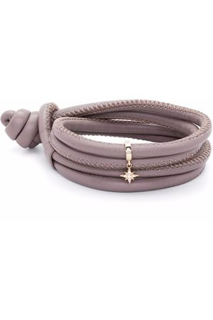 Mizuki 14kt yellow diamond star charm leather bracelet