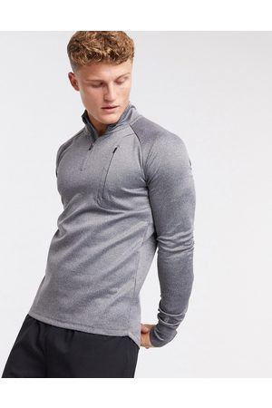 ASOS Icon muscle fit training sweatshirt with 1/4 zip in marl