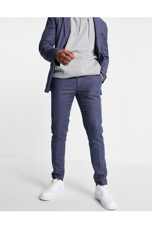 ASOS Skinny soft tailored suit trousers in navy linen blend